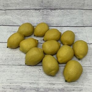 Lot of 12 Yellow Lemons Artificial Faux Fruit Realistic Lightweight Decor 🍋🍋
