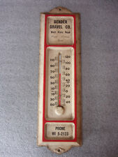 Old Vtg Collectible Bender Gravel Co WI 5-2123 Thermometer West State Road