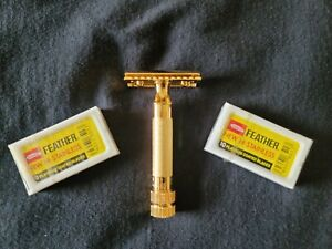 Merkur HD Gold Plated Double Edge Safety Razor with Bar (Closed) Guard 34G