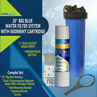 "20"" Big Blue Water Filter Purifier System with 5 Micron 4.5 x 20 Sediment Filter"