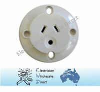 Plug Base Round Earth Pin Panel Mount Surface Socket Flush Outlet 240v 3 Pin