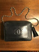 Authentic Vintage Chanel Leather Handbag With Tassel and Chain Strap