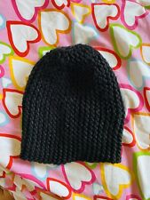 NEW H&M Black Chunky Hat Winter Warm Pattern Wool Blend Glam Fashion