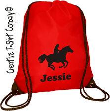 RED PERSONALISED CUSTOM HORSE BAG, HORSE & PONY BRUSHES, STABLES DRAWSTRING BAG