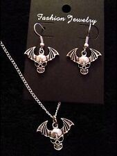 Avenged Sevenfold Necklace + earrings Death Bat Pendant A7X Chain Skull Wings UK
