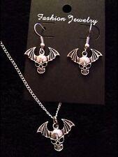 Avenged Sevenfold Necklace + earrings Death Bat Pendant A7X Chain Skull Wings UK