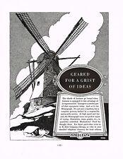 1936 BIG Vintage Mimeograph Donald Denton Windmill Art Print Ad