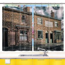 London Vintage Street Old House Window Curtain Drapes Short Kitchen Curtains Set
