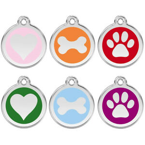 25mm COLOURED ENGRAVED DOG ID NAME TAG DISC PERSONALISED PET IDENTITY TAGS
