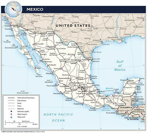 2018 CIA Transportation Map of Mexico Wall Art Poster Print History