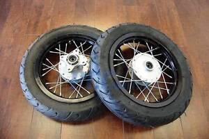 """12"""" DRUM BRAKE WHEEL SET W/ MOTARD TIRES 12MM Bearing for Dirt Bike WMS02"""