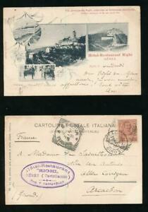 ITALY 1901 EARLY UB PPC HANDSTAMP HOTEL RESTAURANT RIGHI GENOVA