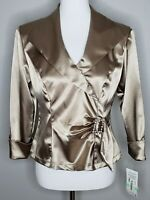 JR Nites Blouse NWT Size 8 Gold Satin Stretch Wrap Zip Buckle Party Cocktail