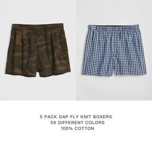 """5 Pack GAP Mens  Gly Guyfront 100% Cotton 4"""" Knit Boxer size M-2XL"""