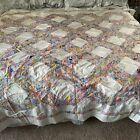 Vintage Flower Multicolor Patchwork Feedsack Quilt Top Hand Stitched 96x76