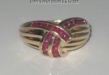SPECTACULAR ESTATE 14K YELLOW GOLD 20 ROUND RED RUBIES RUBY RING BAND Size 6.25