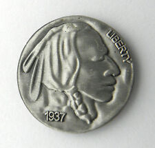 NATIVE AMERICAN INDIAN CHIEF NICKEL USA AMERICA LAPEL PIN BADGE 1 inch