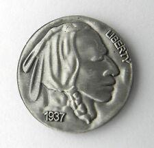 NATIVE AMERICAN INDIAN CHIEF NICKEL USA AMERICA LAPEL PIN BADGE 1 inch
