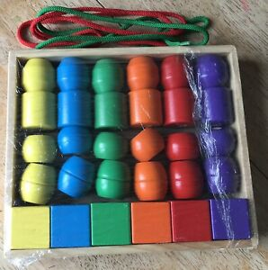 Melissa And Doug Primary Lacing Beads Wooden (Rainbow Colours)
