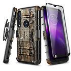 For Motorola Moto G8 Play/One Macro Case Belt Clip Holster Cover +Tempered Glass