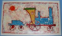 """JAMES MCKENNEY SIGNED ORIGINAL Acrylic  PAINTING TITLED """"TOY TRAIN"""""""