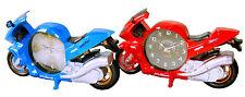 Motorrad Uhr Wecker Quarzlaufwerk Motorraduhr Motorradwecker Blau Rot NEU