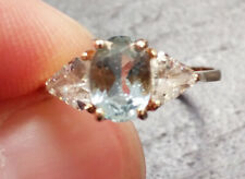 10 Kt Yellow Gold Blue Topaz & Cubic Ring - Size 6 3/4