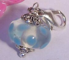♥ Charm Lampwork Perle transparent weiß hellblau Armband ♥ AH293