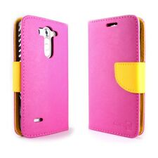 CoverON® For LG G3 Vigor Wallet Case - Hot Pink & Yellow Credit Card Folio Cover