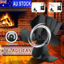 AU Wood Heater Heat Powered Stove Fireplace Fire Eco Fan Burner Blower + Gift F
