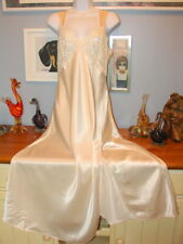 Ivory Victoria Secret Polyester Satin Slippery Long Nightgown -M gold Label