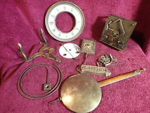 SET OF ANTIQUE WALL CLOCK PARTS GUSTAV BECKER MOVEMENT FACE etc. GERMANY GERMAN