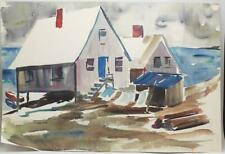 Vintage Watercolor Painting Beach House circa 1959-1960