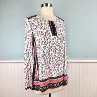 Size Small S J Jill Floral Pink Black White Boho Chic Peasant Top Shirt Blouse