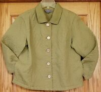 Koret Petite Large Jacket Button Front Quilted Cotton Long Sleeve Sage Green
