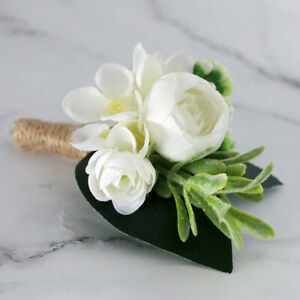Rose Boutonniere Corsage Quinceanera Bridal Groom Brooch Pin Wedding Decors