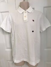 NWT Abercrombie by Hollister Mens Polo Shirt Slim Fit White, XL
