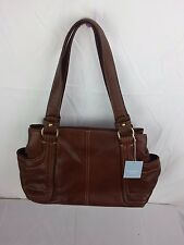 Liz Claiborne GENUINE LEATHER Brandy Brown SHOULDER BAG LARGE HANDBAG PURSE