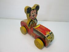 Vintage Fisher Price Mickey Mouse Puddle Jumper Pull Toy #310 Disney Working