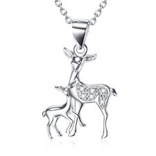 """Deer""""Mom and Child"""" 925 Sterling Silver Shiny Crystal Sika Deer Necklace Jewelry"""