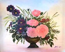 Beautiful Original Canvas Oil Painting Flower Arragement by Doris