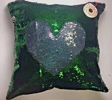 US Ship )Green / Silver Sequin Pillow Mermaid Magic Glitter Reversible  16'' #10
