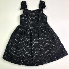 Janie and Jack Girls Black Eyelet Bow Twirl Dress 6 Black & White Season