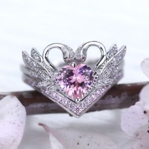 Fashion 925 Silver Heart Rings for Women Pink Sapphire Wedding Swan Jewelry Gift