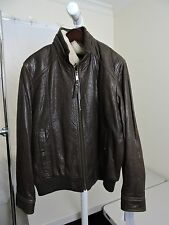 NWT-$650  Marc New York Andrew Marc Leather Flight Bomber Jacket w/Shearling-XL