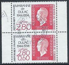 1994 FRANCIA USATO GIORNATA DEL FRANCOBOLLO DITTICO 2 VALORI - R26-9
