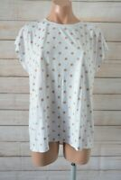 Decjuba T-shirt Top Size Large White Rose Gold Polka Dot Sleeveless