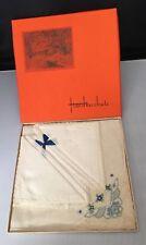 3 Vintage Handkerchiefs Hankies Blue & White Embroidered In Original Box