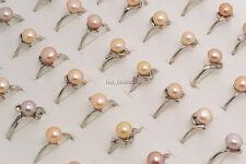 Wholesale lOTS 50Pcs Mixed Natural pearls Gemstone Silver P Rings FREE