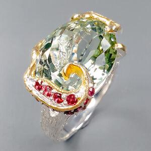 11ct+ Handmade SET Green Amethyst Ring Silver 925 Sterling  Size 8 /R159052